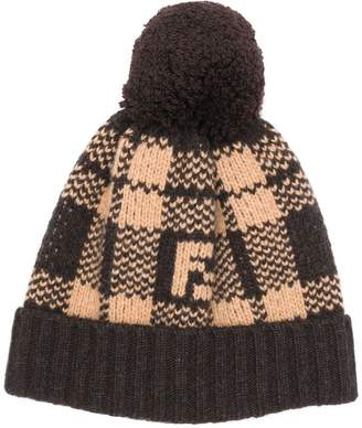 Fendi check knit beanie