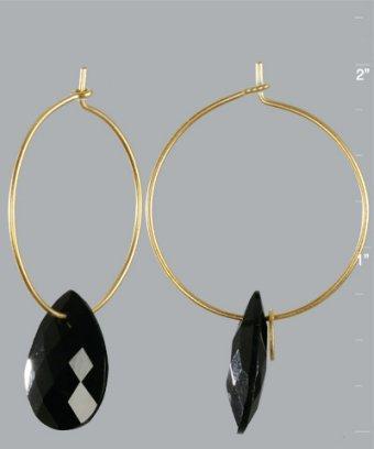 Julie Sandlau black onyx teardrop medium hoop earrings