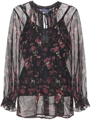 Polo Ralph Lauren Floral-printed silk top