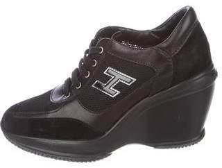 Hogan Suede Wedge Sneakers