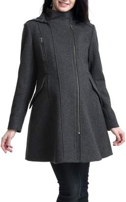 Kimi and Kai Cordella Wool Blend Hooded Maternity Coat