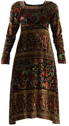 Etro Bedfordshire Floral Devore Dress - Womens - Black Multi