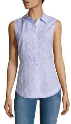 Derek Lam 10 Crosby Embellished Tie-Back Collared Shirt