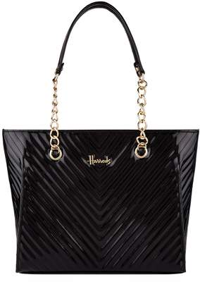 Harrods Patent Christie Chevron Shoulder Bag