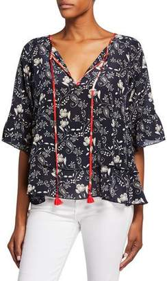 Johnny Was Lago Printed Split-Neck Short-Sleeve Tiered Top