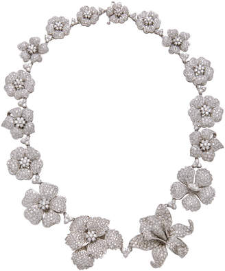 Gioia 18K White Gold And Diamond Floral Necklace