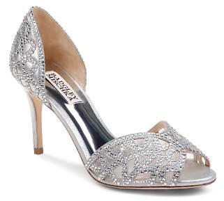Badgley Mischka Women's Harris Embellished Leather & Mesh d'Orsay High-Heel Pumps