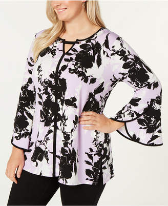 JM Collection Plus Size Printed Lantern-Sleeve Tunic