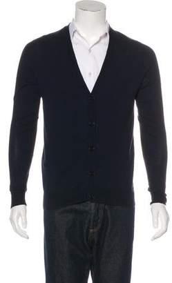 Maison Margiela Leather-Trimmed Wool-Blend Cardigan