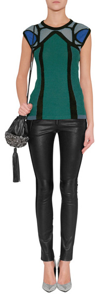A.L.C. Black Leather Hendon Pants with Sueded Trim