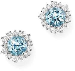 Bloomingdale's Aquamarine and Diamond Halo Stud Earrings in 14K White Gold - 100% Exclusive