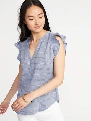 Old Navy Ruffle-Trim Linen-Blend Popover Shirt for Women