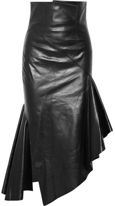 Monse - Asymmetric Leather Midi Skirt - Black