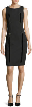 Badgley Mischka Grommet Ribbon Sleeveless Sheath Mini Dress