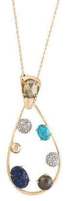 Alexis Bittar Multistone & Crystal Modernist Pendant Necklace