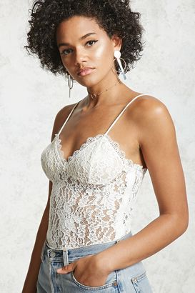 FOREVER 21+ Sheer Lace Cami Bodysuit $17.90 thestylecure.com