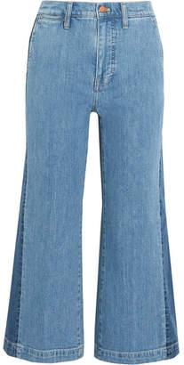 Madewell Cropped Striped Wide-leg Jeans - Blue