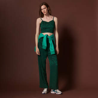 Sandro High-waisted jacquard trousers