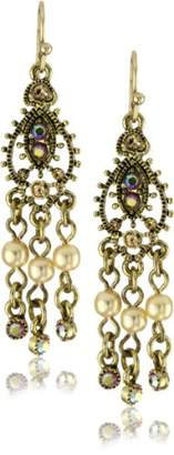 1928 Jewelry Brass Tone Simulated Plastic Pearl Mini Chandelier Earrings