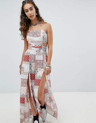 En Creme En Crme Cami Jumpsuit With Side Splits In Patchwork Tile Print