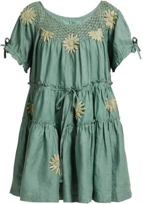 INNIKA CHOO Embroidered linen smock dress