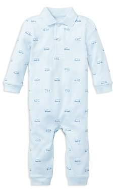 Ralph Lauren Boys' Train-Print Cotton Polo Coverall - Baby