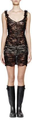 Saint Laurent Sleeveless Metallic-Lace Ruched Dress