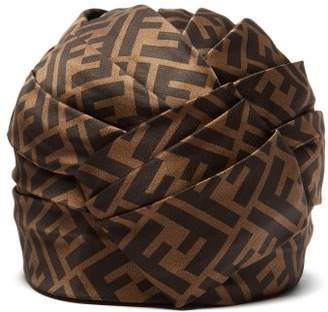 Fendi Ff Silk Satin Turban Hat - Womens - Brown 6483446f5