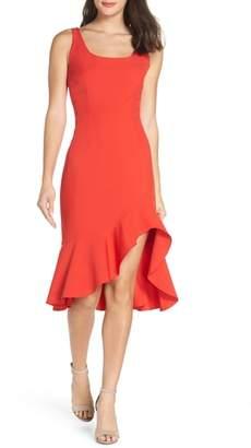 NSR Cristi Ruffle Hem Midi Dress
