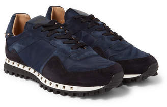 Valentino Garavani Rockstud Suede and Shell Sneakers - Navy