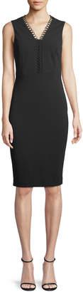 Iconic American Designer Loop-Lace Sleeveless Sheath Dress