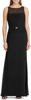 Lauren Ralph Lauren Belted Sleeveless Chiffon Gown