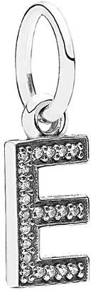 Pandora Letter E Silver Cz Dangle Charm