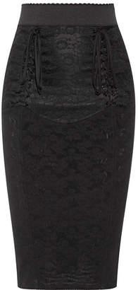 Dolce & Gabbana Lace-up Mesh-jacquard Pencil Skirt - Black