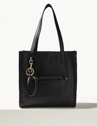 Marks and Spencer Leather 3 Compartment Tote Bag