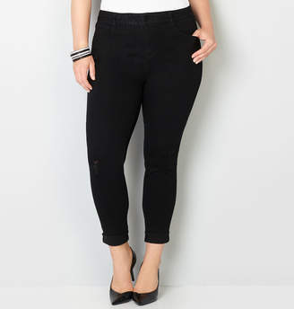 Avenue Virtual Stretch Destructed Ankle Jean in Black