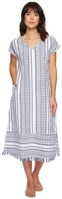 Tommy Bahama Yarn Dye Stripe Tea-Length Dress Cover-Up Women's Swimwear