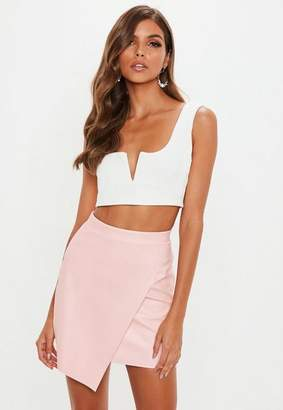 Missguided Pink Faux Leather Wrap Over Skirt
