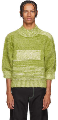 Chin Mens Green Furry Jumper Turtleneck