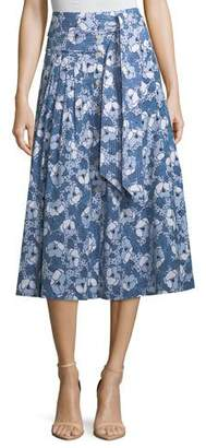 Veronica Beard Caralina Tie-Waist Cotton Midi Skirt