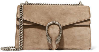 Dionysus Small Leather-trimmed Suede Shoulder Bag - Mushroom