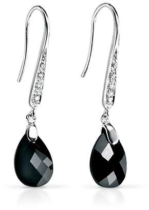 John Greed Black CZ Teardrop Silver Earrings