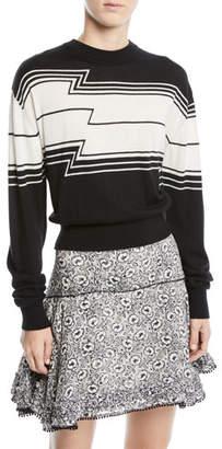 Derek Lam 10 Crosby Zig-Stripe Wool/Silk Knit Pullover Sweater