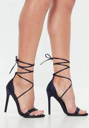 Missguided Satin Lace Up Barely There Heels