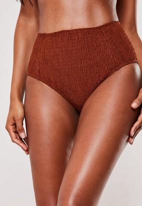 Missguided Rust Crinkle High Waisted High Leg Bikini Bottoms