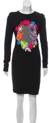 Christopher Kane Graphic Print Long Sleeve Mini Dress