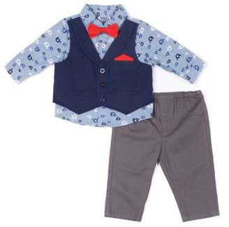 Little Lad Vest, Elephant Printed Chambray Shirt, Twill Pants & Bowtie, 3pc Outfit Set (Baby Boys)