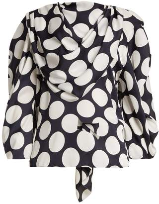Awake Draped polka-dot satin-crepe top