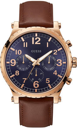 GUESS GuessMen Honey Brown Leather Chronograph Watch 46MM