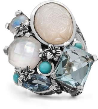 Stephen Dweck Sterling Silver Blue Quartz, Rainbow White Moonstone, Turquoise, Crystal Quartz Ring - Size 5